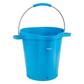Pail: Round, Blue, Plastic, 5 gal Capacity, 14 1/8 in Dia, 15 in Overall Ht