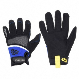 Work Glove: Mechanics Glove, L Size, ANSI Cut-Resist Level 5, ANSI Puncture-Resist Level 3, Knit Cuff, Black/Blue, 1 PR