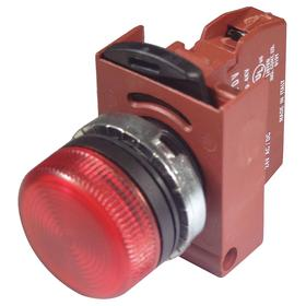 Pilot Light Complete Unit: 120VAC, Chrome Plated, Red, Signaling, 100000 hr Avg Life, 22 mm Compatible Panel Cutout Dia