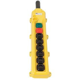 KH Pendant Push Button Station: Momentary, Customizable, Black, 3.25 in Overall Wd, 13.4 in Overall Ht, 1.5 in Overall Dp, Square