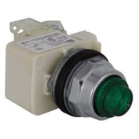 Schneider Electric Pilot Light: Push to Test Pilot Light, 120V AC/DC, Full Volt, Chromium plated metal, For BA 9s, LED