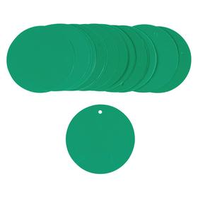 Brady Blank Plastic Tag: 3 in Overall Ht, 3 in Overall Wd, Green, (1) Nylon Ties, 3 in Overall Dia, Color-Coding, 25 PK