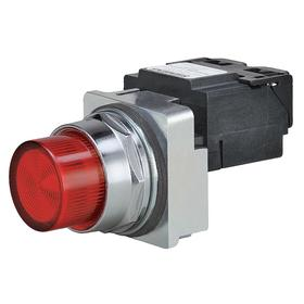 Siemens Pilot Light Complete Unit: 240V AC, Transformer, Red, For LED, 100000 hr Avg Life, Chrome Plated, Screw Terminal