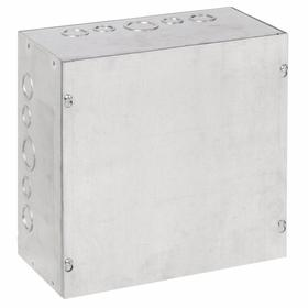 Hoffman Indoor Enclosure with Lift-Off Cover & Knockouts: Galvanized, Steel, 12 in Exterior Wd, 12 in Exterior Ht, Wall