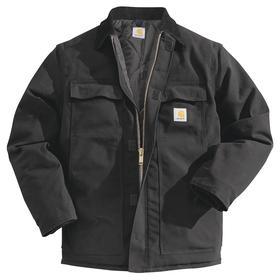 Duck Traditional Coat: XL Size, Ring Spun Cotton Duck, Black, Hip Lg Type, 4 Pockets, Hook & Loop/Two Way Zipper, Cotton