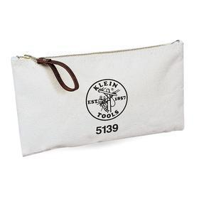 Klein Tools Zippered Tool Pouch: Canvas, 7 in Overall Ht, 12 1/2 in Overall Wd, 1 in Overall Dp, White