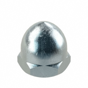 Standard Crown Acorn Nut: Steel, Zinc Plated, M10 Thread Size, 1.5 mm Thread Pitch, 14 mm Thread Dp, 17 mm Wd, 10 PK