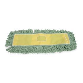 Dust Mop Head: Slip On, Looped End, 48 in Lg, 5 in Wd, Washable Cotton/PET Blend, Green, Yellow, Polyester, 2 Ply Count