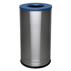 Metal Trash Container: Stainless Steel, 18 gal Capacity, Silver, Satin, 28 in Overall Ht, 15 in Bottom Dia, Stationary