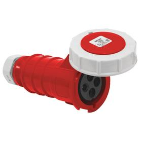 Hubbell Pin & Sleeve Connector: 4 Pins, Three Phase, 30 A Current, 480V AC, 3 Poles, Nylon, Red Color, 7.5 hp Horsepower