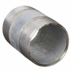 Galvanized Steel Pipe Nipple: 4 1/2 in Overall Lg, 40 Schedule, Threaded on Both Ends Thread, 1 1/2 Pipe Size (Port 1)