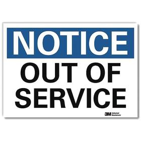 Lyle Maintenance Sign: 10 in Overall Ht, 14 in Overall Wd, Vinyl, Self-Adhesive, Notice, Out of Service, English, White