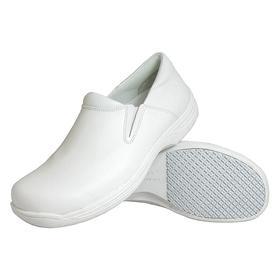 Slip Resistant Work Shoe: E Shoe Wd, 8 Men's Size, Men, Plain, Leather, White, Best Mfr Suggested Sole Slip Rating, 1 PR