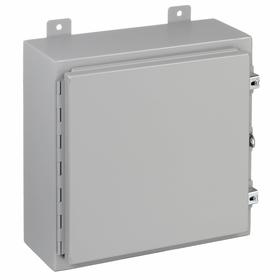 Hubbell Oil-Tight Enclosure with Hinged Cover: Indoor Use, Polyester Powder Coat, Steel, 20 in Exterior Wd, 20 in Exterior Ht