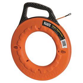 Klein Tools Fish Tape for Multidirectional Runs: Fiberglass, Round, 50 ft Overall Lg, 3/16 in Tape Dia, Orange