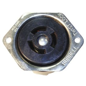 Hubbell Non-NEMA Turn-Locking Female Receptacles' General Use: Single Phase, 3 Contacts, 10 A Current, 120/250V AC