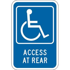 Zing Accessible Parking Sign: 18 in Overall Ht, 12 in Overall Wd, Aluminum, Engineer Grade, Blue, Access at Rear, 99%