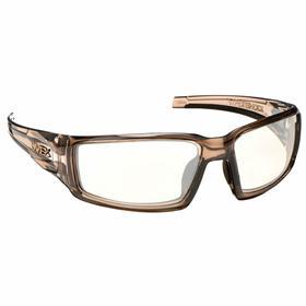 Honeywell Safety Glasses: Clear, Wraparound Frame, Scratch Resistant, Brown, ANSI Z87.1-2010, Nylon