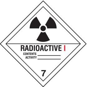 DOT Hazardous Material Label: Radioactive I/Contents___/Activity___ 7, 4 in Label Ht, 4 in Label Wd, Vinyl, 25 PK