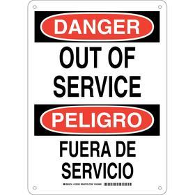 Brady Maintenance Sign: Danger/Peligro, 14 in Overall Ht, 10 in Overall Wd, Aluminum, English/Spanish, Mounting Holes