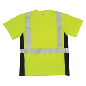 ML Kishigo T-Shirt: Microfiber Polyester, Lime, Pullover, 40 in Max Chest Size, Crewneck Neck, 1 Pockets, Silver, T-Shirt