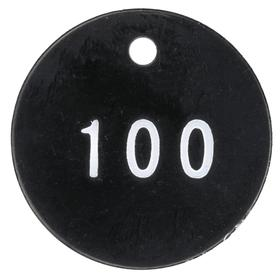 Valve Tag: Round, 001 to 100 # Sequence, 1 1/4 in Overall Dia, 3/50 in Thickness, 1/8 in Hole Dia, Red, ABS, 100 PK