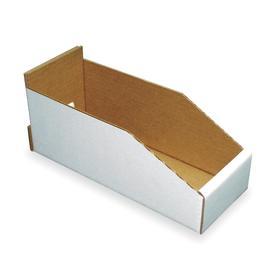 Corrugated Shelf Bin: Corrugated Fiberboard, 4 3/4 in Ht, 4 1/4 in Wd, 11 in Dp, Nestable, White, 25 PK
