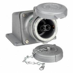 Pin & Sleeve Female Receptacle: 2 Contacts, 30 A Current, 600V AC, 2 Poles, Aluminum, Angle Connection Orientation