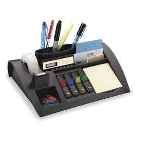 Desk Organizer: Plastic, 2 3/4 in Ht, 10 1/4 in Wd, 6 3/4 in Dp, 6 Compartments, Black, Desktop Sorter & Tray, 2.7 lb Wt