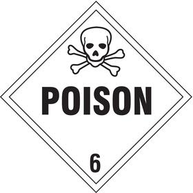 Stranco DOT Vehicle Placard: Poison, 10 3/4 in Overall Ht, 10 3/4 in Overall Wd, Vinyl, Self-Adhesive, White, 10 PK