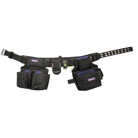 Tool Belt with Pouches: Nylon Webbed, Polyester, 16 Pockets, One Size Fits All Waist Size