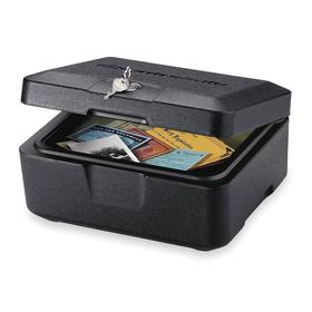 Compact Safe: Key, 6 1/8 in Overall Ht, 12 1/4 in Overall Wd, 10 1/4 in Overall Dp, 11 lb Wt, Black