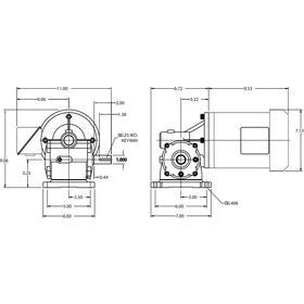 AC Gearmotor: 208-230V AC/460V AC, 1/2 hp Input Power, 56 RPM Nameplate RPM, 428 in-lb Full-Load Torque, 31:1 Gear Ratio