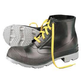 Protective Rubber Boot: D Shoe Wd, 11 Men's Size, Men, Plain, 6 in Shoe Ht, PVC/Polyurethane, Black, ASTM F2413-05, 1 PR