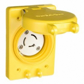 Hubbell Non-NEMA Turn-Locking Female Receptacles' Corrosion Resistant: Single Phase, 3 Contacts, 20 A Current, Yellow