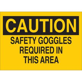 Personal Protective Equipment Sign: Caution, 10 in Overall Ht, 14 in Overall Wd, Plastic, Mounting Holes