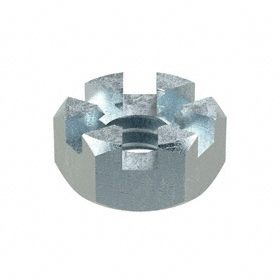 "Slotted Hex Nut: Steel, Zinc Plated, Grade 2 Material Grade, 1/4""-20 Thread Size, 7/16 in Wd, 7/32 in Ht, 100 PK"