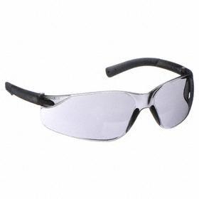 Safety Glasses: Gray, Wraparound Frame, Scratch Resistant, ANSI Z87.1-2010, Polycarbonate, Gen Impact Purpose, 145 mm Arm Lg