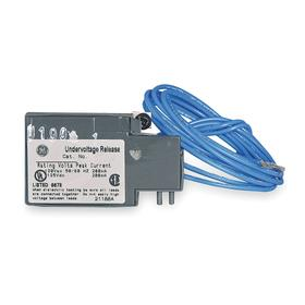 GE Circuit Breaker Undervoltage Release: 15 A/1200 A Current Rating, (1) Captive Mounting Screw, 24V AC/24V DC