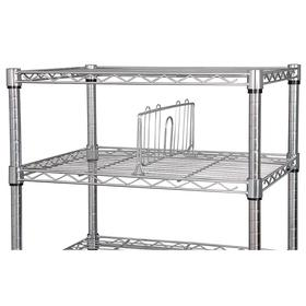 Wire Shelving Divider: For 36 in Steel Shelves, 36 in Dp, 6 1/4 in Ht, Chrome, 2 PK