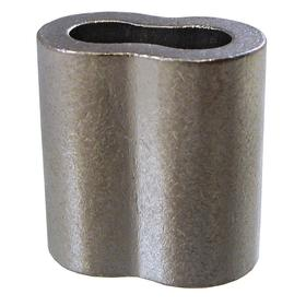 Wire Rope Oval Sleeve: 1/4 in For Rope Dia, Nickel-Plated, Copper, Stainless Steel, 4 Compressions, 13/16 in Overall Lg