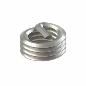 "Screw-Locking Helical Insert: 18-8 Stainless Steel, 1/4""-28 Thread Size, 0.316 in Insert Dia, 0.187 in Insert Lg, 100 PK"