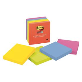Sticky Note: 3 in Ht, 3 in Wd, 90 Sheets Per Pad, Unruled, Assorted, Paper, Square, 5 PK