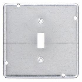 Toggle Switch Box Cover: 1 Gang, Fits 4 11/16 Box Ht, Fits 4 11/16 Box Wd, Steel, Gray