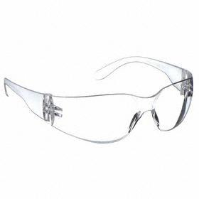 Safety Glasses: Frameless Frame, Clear, Scratch Resistant, White, ANSI Z87.1-2010