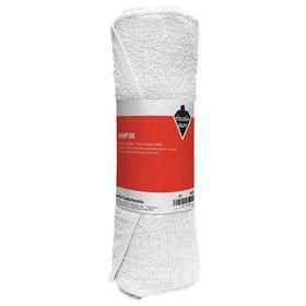 Shop Towel: Terry Cloth, New, White, Prewashed, 1.5 lb Size, Roll, 12 PK