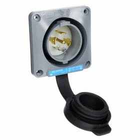 Hubbell NEMA Turn-Locking Male Receptacles' General Use: 4 Poles, 5 Contacts, L21-30 NEMA Configuration, 120/208V AC, Gray
