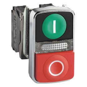 Schneider Electric I/O Push Button Switch: 3 Operators, 22 mm Panel Cutout Dia, Illuminated, Green/Red, Momentary, Flush Operator