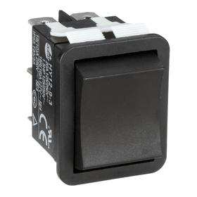 Rocker Switch: Black, 0.87 in Mounting Hole Wd, 1.16 in Mounting Hole Lg, On-Off-On, 20 A Switch Rating @ 125V, Momentary