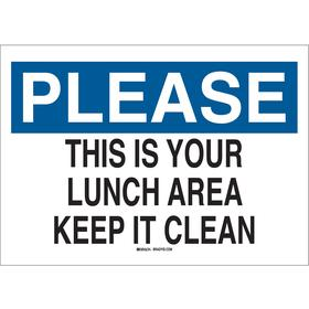 Brady Food & Water Sanitation Sign: 7 in Overall Ht, 10 in Overall Wd, Plastic, Mounting Holes, English, Notice, Text